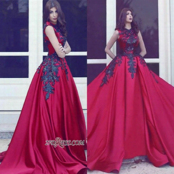 2017 Unique Gothic Red Satin Long Train With Black Appliques Lace Evening Gowns Elegant Princess Jewel Sleeveless Prom Party Dresses Ba3924