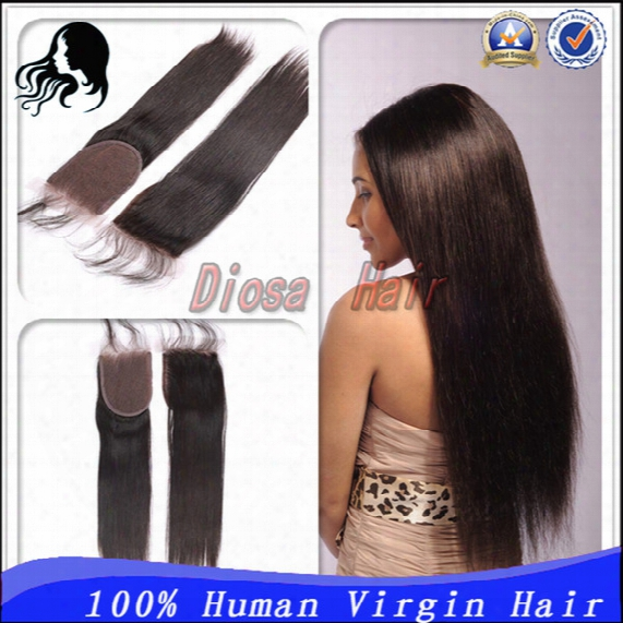 """7a Grade Free Part Closure For Sale Straight Brazilian Lace Closure With Bleached Knots 4""""x 4"""" Baby Hair Free Shipping Return Accept"""