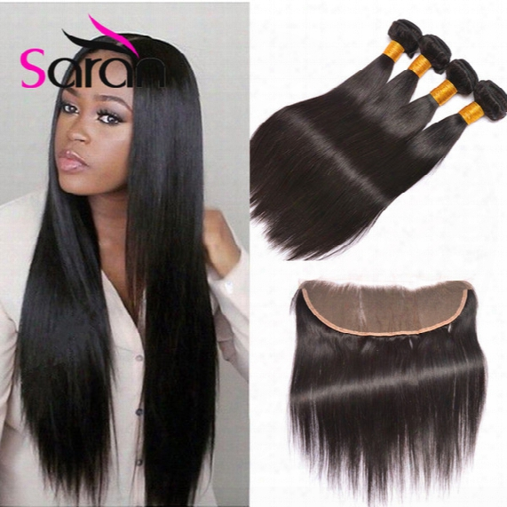 8a 13x4 Straight Ear To Ear Lace Frontal Closure With Hair Bundles 3 Pieces Peruvian Straight Hair Weaves With 1 Piece Lace Frontal