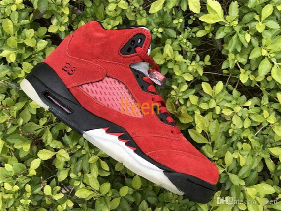 Air Retro 5 V Basketball Shoes Raging Bull University Red Sneakers Sport Shoes ( With Original Box ) Top Quality Us 5.5-13