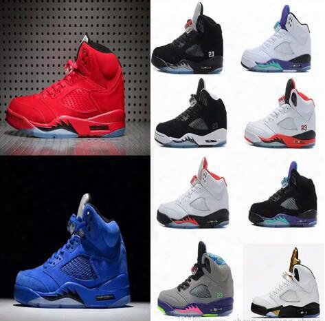 Air Retro 5 V Olympic Og Metallic Gold Tongue Men Basketball Shoes 5s Black Metallic Red Blue Suede Supreme Sneakers 8-13