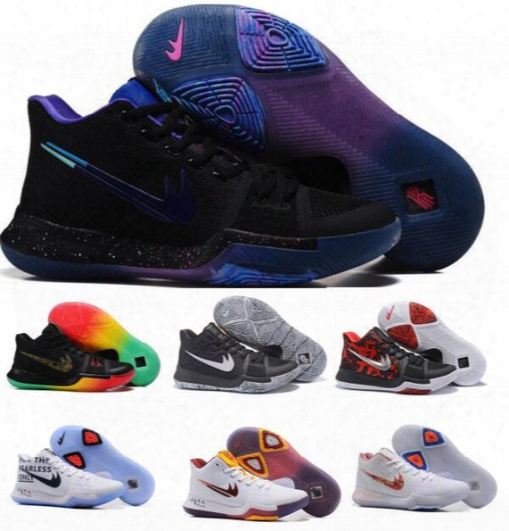 Basketball Shoes Kyrie 3 Women Men Black Gold Crossover Huarache Cavs Kyrie Irving 3s Iii Basketball Sports Shoes Replicas Sneakers Size 36-