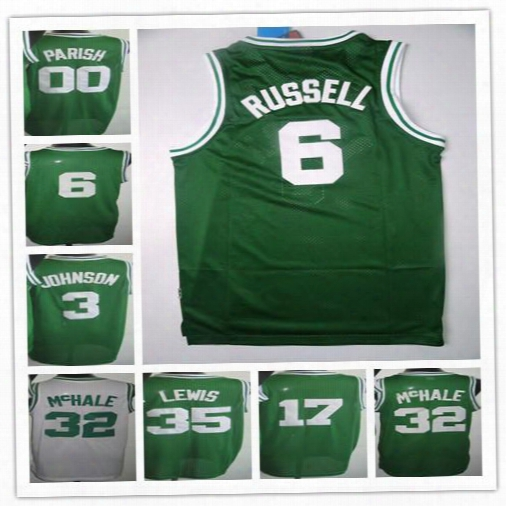 Basketball Throwback 00 Robert Parish Jerseys Green White 3 Dennis Johnson 6 Bill Russell 32 Kevin Mchale 35 Reggie Lewis 44 Danny Ainge