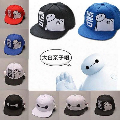Big Hero 6 Baymax Hat Basketball Cap Snapback Cute Cartoon Child Ball Caps Casual Adjutsable Sun Hats Fits Boys And Girls White Black Red