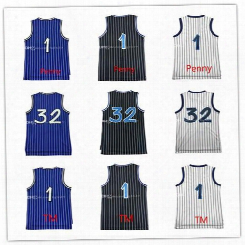 Brand New 1 Epnny Hardaway Jersey 100% Stitched 32 Shaquille O'neal Jersey 1 Tracy Mcgrady Jersey Embroidery Free Shipping