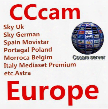 Cccam 1-year Code With Av Cable Support Sky Uk Mediaset Premium Sky German Spain Movistar Portagal Poland Belgium