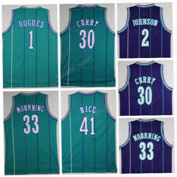Cheap 2 Larry Johnson Jersey Men Basketball 30 Dell Curry 1 Tyrone Muggsy Bogues Jerseys Sports 33 Alonzo Mourning 41 Glen Rice Green Purple