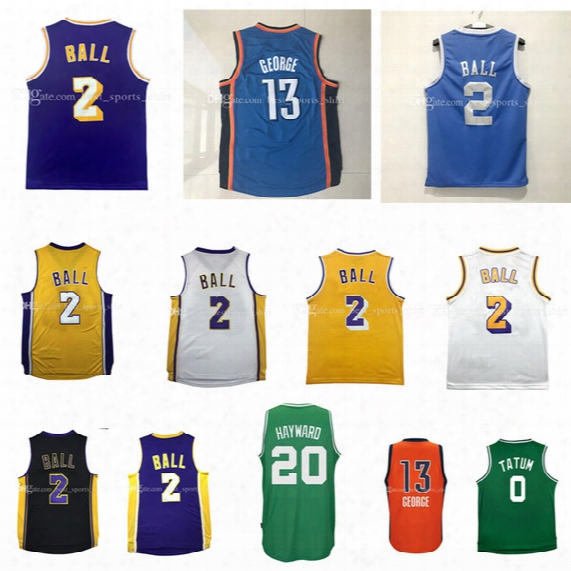 Cheap 2017 Men's 13# Paul George 2# Lonzo Ball Jerseys Gordon Hayward Rev30 100% Stitched Embroidery Jersey Wholesale