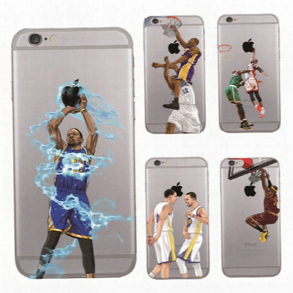 Curry Kobe James Basketball Man Phone Case For Iphone 7 6 6s Plus 5s S7 S6 Note 5 Soft Tpu Cover Fashion Painting Defender Cases Gsz242