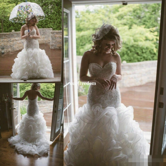 Custom Made Crystal Pearls 2017 Backless Wedding Dresses Tiered Skirts Beads Inbal Dror Mermaid Bridal Gowns Luxury Fishtail Wedding Dress