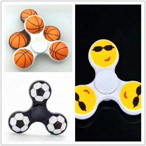 Dhl Free 2017 Hot Toy Hand Spinner 3d Basketball Football Emoji Finger Spinner Fingertip Gyro Tri Fidget Spinner