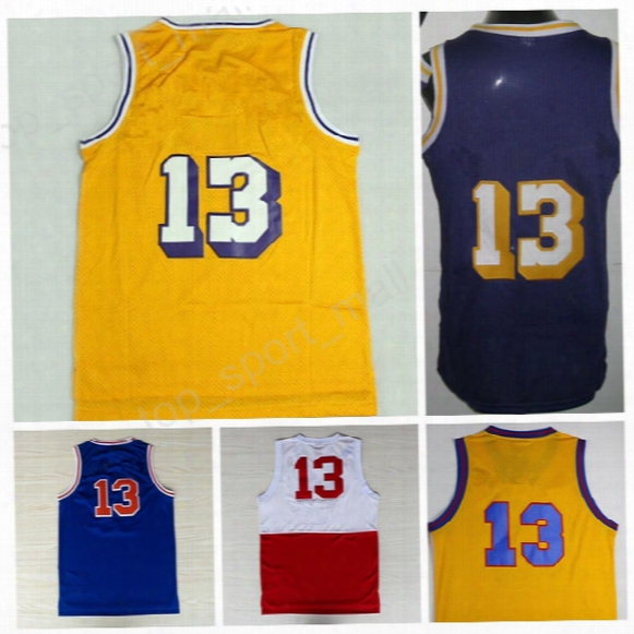Discount 13 Wilt Chamberlain Throwback Jerseys Basketball Wilt Chamberlain Retro Uniforms Home Yellow Purple White Blue With Player Name