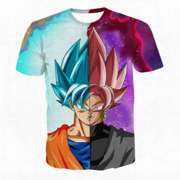 Dragon Ball Z Mens Summer T-shirts 3d Print Super Saiyan Son Goku Black Zamasu Vegeta Dragonball Casual T Shirt Tops Tee
