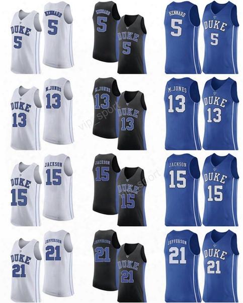 Duke Blue Devils 5 Luke Kennard Jersey Men College Basketball 21 Amile Jefferson 15 Frank Jackson 13 Matt Jones Jersey Custom Blue Black