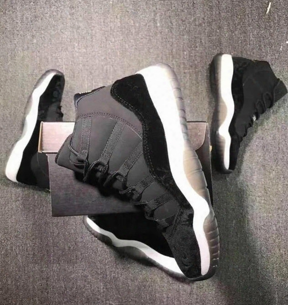 Famous Brand Air Mesh High Quality Retro 11 Xi Black Velvet Heiress Shoes Men Women Wholesale Sale Us Size 5.5 13 Free Shipping