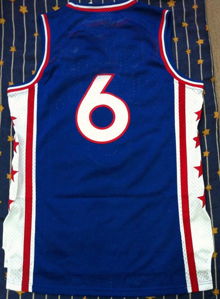 Free Shipping!!! #6 Jersey Blue Basketball Jersey (all Name Number Stitched)
