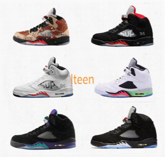 High Quality Retro 5 Supreme X Camo Black Metallic Black Grape Men Women Basketball Shoes 3m Reflective Effect Sneakers With Shoes Box 36-46