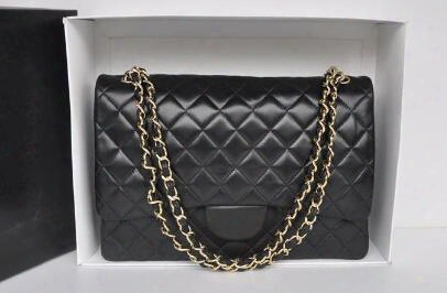 High Quality Xl Classial 33cm Maxi Quilted Chain Black Genuine Lambskin Leather Double Flaps Fashion Shoulder Chain Bag Gold Hw