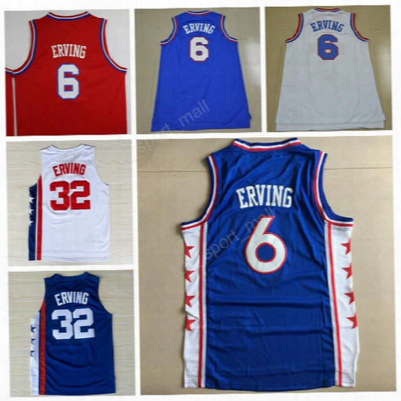 High/top 6 Dr J Julius Erving Jersey Men Sale Throwback 32 Julius Erving Basketball Jerseys For Sport Fans Team Red Blue White Color Quality