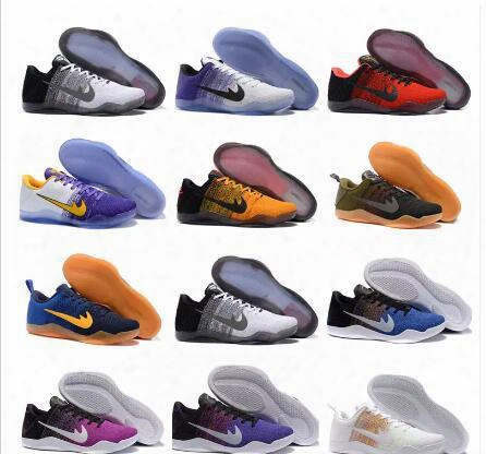 Hot Kobe 11 Basketball Shoes Sneakers Mens Running Shoes Kids White Bryant Kobes Xi Elite Sports Kb 11s Ep Trainer Sports Shoes Size:36-46