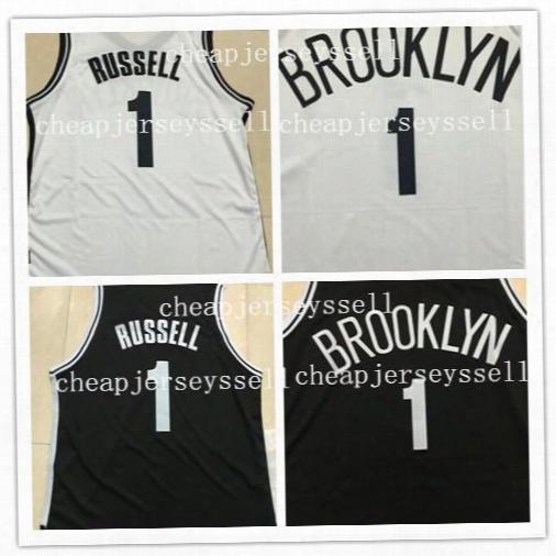Hot Printed #1 D'angelo Russell New Jersey Men Basketball Jerseys Brooklyn White Black Jerseys #1 Russell Good Quality Men New Jerseys