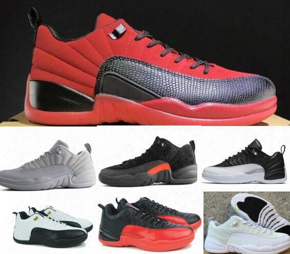Hot Retro 12 Basketball Sneakers Low Women Men Taxi Playoffs Gamma Grey White Sports Real Retro Shoes Size 36-47