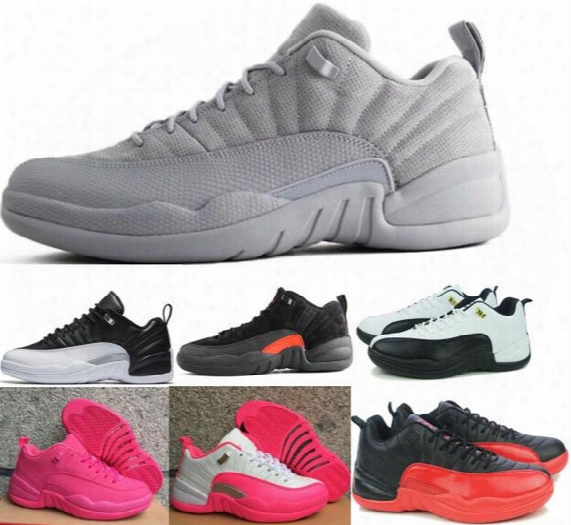 Hot Retro 12 Xii Low Basketball Shoes Sneakers Women Men Taxi Playoffs Gamma Grey White Sports Real Retros Shoes Size 36-47
