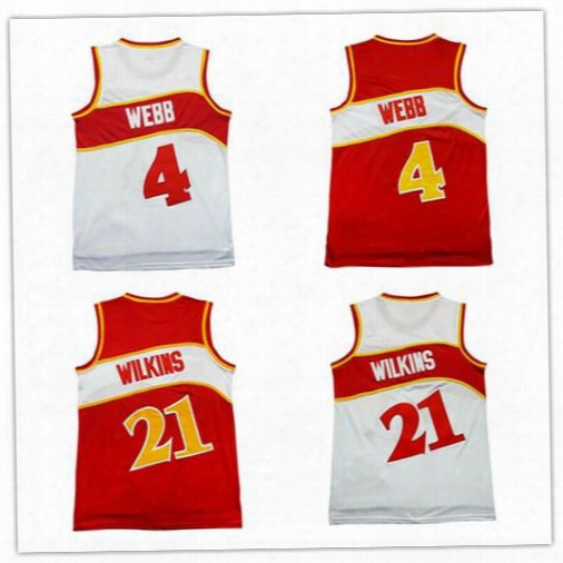 Hot Sale #4 Spud Webb Jersey #21 Dominique Wilkins Chea Throwback Basketball Jerseys Embroidery Logos Shirt Men Free Shipping