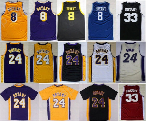 Hot Sale 8 Kobe Bryant Jersey 24 Men Throwback High School Lower Merion 33 Kobe Bryant Basketball Jerseys Uniforms Yellow White Purple Black
