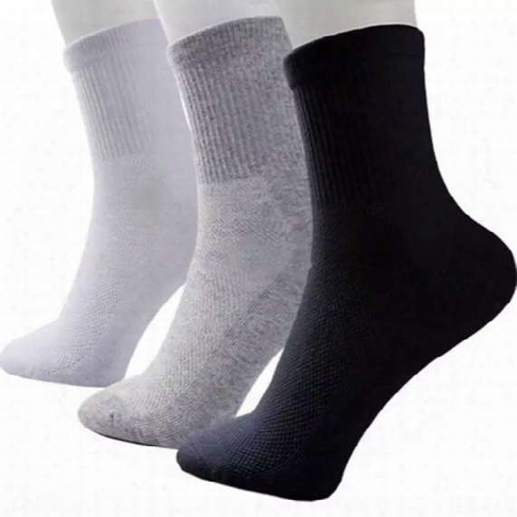 Hot Sale Fashion Summer Men Basketball Cotton Sport Socks Black White Gray High Quality Solid Breathable Running Sock 10pairs/lot