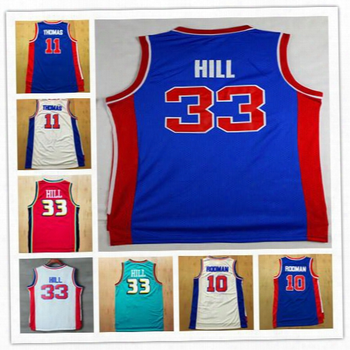 Hot Sale ! Top Quality #10 Dennis Rodman Jersey #11 Isaiah Thomas Basketball Jersey #33 Grant Hill Jersey For Mens Embroidery Logo Mix Order