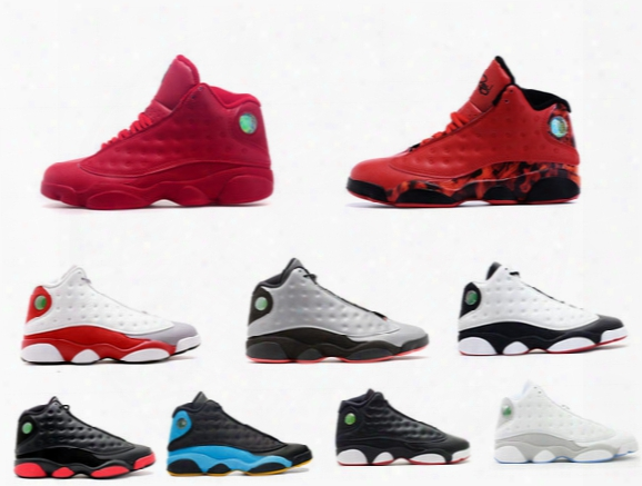 Hot Sell Mens Baasketball Shoes Best Discount Sports Shoes Leather Retro 13 Sneakers Outdoors Athletics Shoes Fire Red
