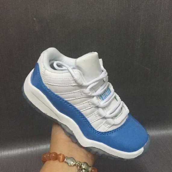 Kids Retro 11 Low Unc University Blue Basketball Shoes 2017 New Children Youth Blue White Carolina Sneakers For Boys And Girls