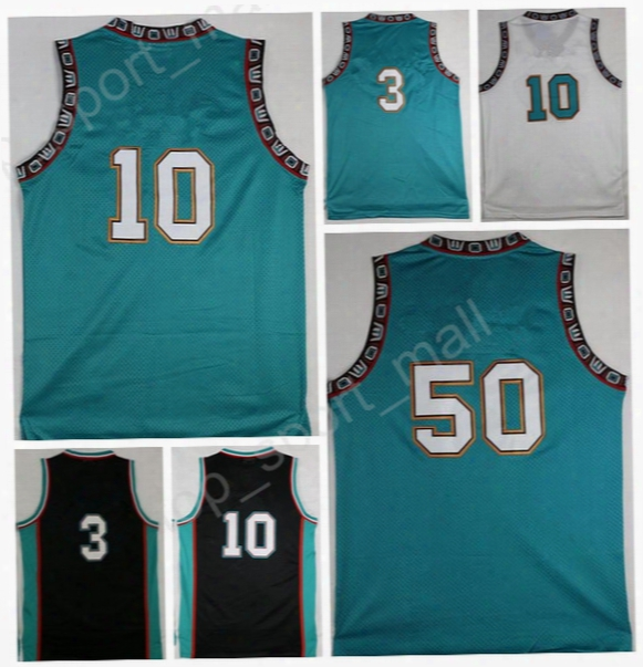 Men Basketball 3 Shareef Abdur-rahim Throwback Jerseys Abdur Rahim 10 Michael Mike Bibby 50 Bryant Reeves Retro Green Black With Player Name