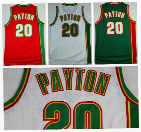 Men Throwback Seattle Supersonics Gary Payton Jersey 20 Sport Cheap Gary Payton Basketball Jereys Stitched Red Green White Free Shipping