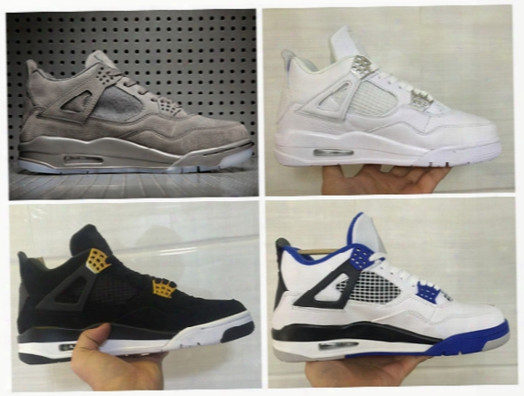 Mens Athletic Kaws Retro 4 Cool Grey Basketball Shoes Brand Iv 4s Motorsport Pure Money Royalty Sports Sneakers With Originals Box