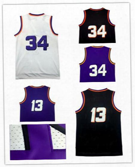 Mesh 34 Charles Barkley 13 Steve Nash Basketball Jerseys 34 Charles Barkley 13 Steve Nash Stitched Jersey Throwback White Purple Color
