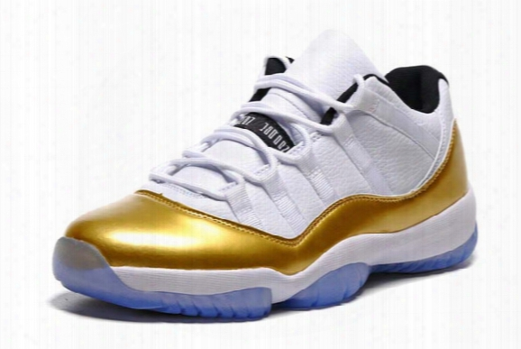 Metallic Gold Retro 11 Shoes Low Men's Women Sports Basketball Shoes Wholesale 2016 New Xi Top Quality Free Shipping
