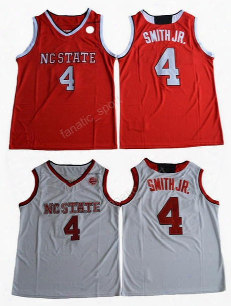 Nc Stte Wolfpack College 4 Dennis Smith Jr. Jersey Men For Sport Fans Red White Smith Jr. Basketball Jerseys Sale Embroidery High Quality