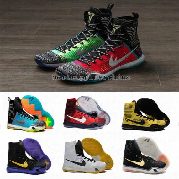 New 2016 Kobe 10 Elite Weaving Retro Mens Basketball Snoes For Men Top Quality Kb X 10s High Training Basket Ballsports Sneakers Size 40-46