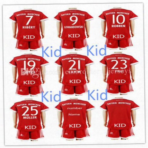 New 2017 2018 Bayerning Munichs Kid Jersey James Robben Vidal Thiago Lewandowski Soccer Jerseys,custom Any Name And Number Free Shipping