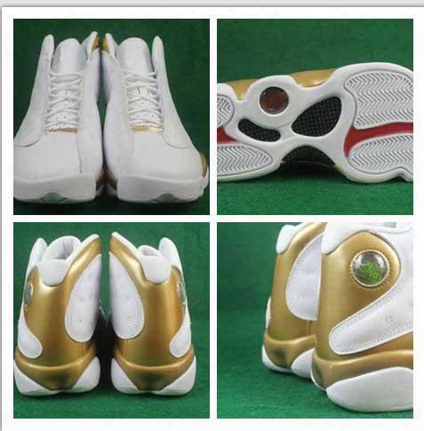 New 2017 Air Dmp Retro 13 Xiii Men Basketball Shoes Gold White High Cut Retros 13s Sport Shoe Mens Basketbalk Trainers Sneakers 8-13