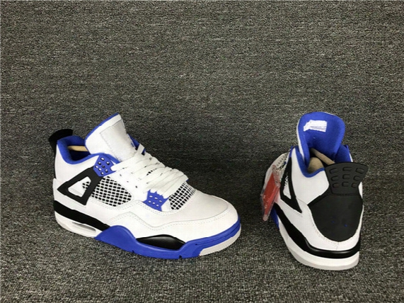 New Air Retro 4 Iv Motorsport Blue White Men Basketball Shoes 4s Trainers Sports Sneakers Wholesale 2017 Top Quality Size 7-12