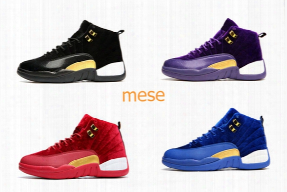 New Cheap Retro 12 Pleuche Mens Womens Basketball Shoes Black Blue Red Purple Wholesale Sneakers Xii 12s Trainers Free Shipping Us 5.5-13
