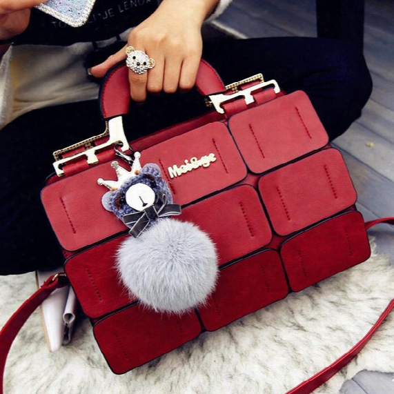 New Spring/summer 2016 Women Bag Suture Boston Bag Inclined Shoulder Bag Women Leather Handbags Free Shipping