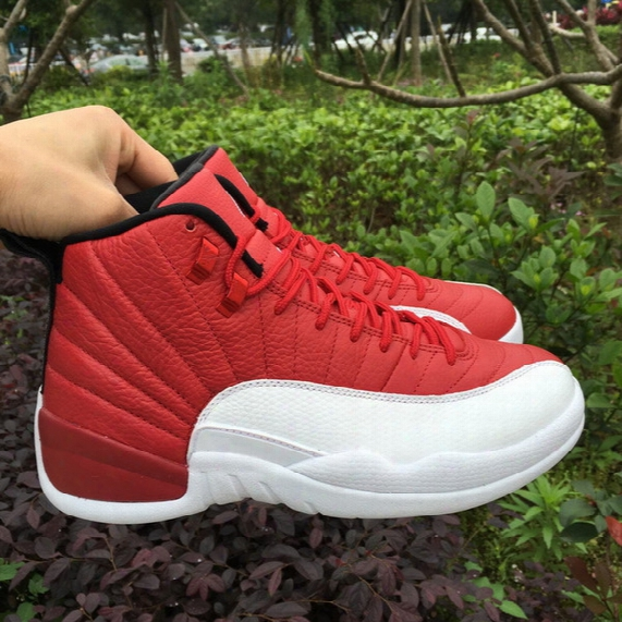 Real Carbon Fiber 2016 Top Quality Air Retro 12 Gym Red White Men Basketball Shoes 12s Sports Shoes Sneakers Size 8-13