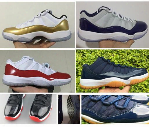 Real Carbon Fiber Air Retro 11 Low Metallic Gold Olympic Gamma Blue Legend Blue 11s Grey Cherry Varsity Red Georgetown Bred Concord
