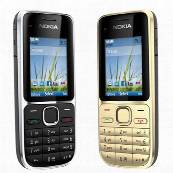 Refurbished Original Nokia C2-01 Unlocked Bar Mobile Phone Gsm Wcdma 3g 3.2mp Camera Fm Mp3 Mp4 Cell Phone