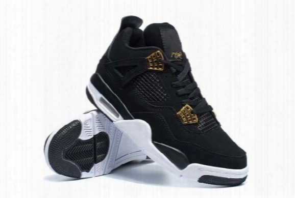 Royalty 2016 New Retro 4 Royalty Men Basketball Shoes Retros Cheap Black Gold Athletics Sneakers For Sale Size 8-13
