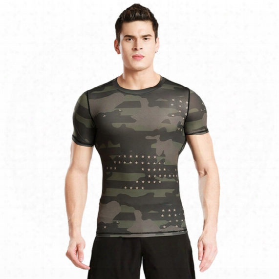 Short - Sleeved Tights Fitness Clothes Men 's Sports Outdoor Camouflage Clothing Sweat Perspiration Dry Clothes Basketball Running T - Shirt